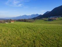 Il paesaggio idilliaco nelle alpi con i prati verdi freschi e la fioritura fiorisce Fotografia Stock