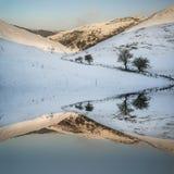 Il paesaggio innevato dell'alba della campagna dell'inverno ha riflesso nella s Fotografia Stock Libera da Diritti
