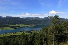 Il paesaggio intorno al lago Wolfgangsee, Schafbergbahn, Salzkammergut, Salisburgo, Austria Immagine Stock Libera da Diritti