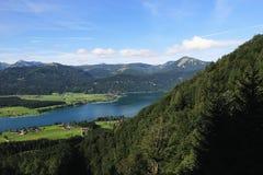 Il paesaggio intorno al lago Wolfgangsee, Schafbergbahn, Salzkammergut, Salisburgo, Austria Fotografia Stock Libera da Diritti