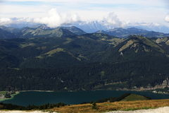 Il paesaggio intorno al lago Wolfgangsee, Schafbergbahn, Salzkammergut, Salisburgo, Austria Fotografia Stock