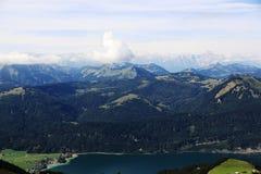 Il paesaggio intorno al lago Wolfgangsee, Schafbergbahn, Salzkammergut, Salisburgo, Austria Immagini Stock