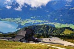 Il paesaggio intorno al lago Wolfgangsee, Schafbergbahn, Salzkammergut, Salisburgo, Austria Fotografie Stock Libere da Diritti