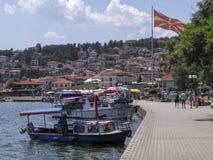 Il paesaggio nel ohrid del lago, Macedonia Immagini Stock