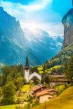 Il paesaggio pittoresco con i fiori, una cascata ed il canyon c Fotografie Stock Libere da Diritti