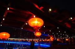 Il paesaggio rosso di notte della lanterna Immagine Stock