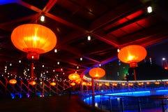 Il paesaggio rosso di notte della lanterna Immagini Stock