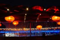 Il paesaggio rosso di notte della lanterna Fotografie Stock Libere da Diritti