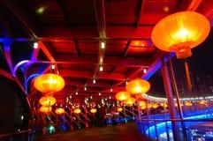 Il paesaggio rosso di notte della lanterna Fotografia Stock