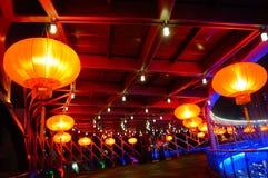 Il paesaggio rosso di notte della lanterna Immagini Stock Libere da Diritti