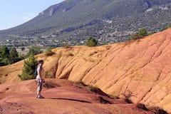 Il paesaggio rosso ha scavato tramite sei generazioni di PR ocraceo di Colorado dei minatori Fotografie Stock