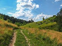 Il paesaggio rurale di estate in mezzo di belle nuvole Fotografia Stock Libera da Diritti