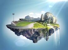 Il paesaggio stupefacente di fantasia con le isole di galleggiamento e l'acqua cadono Fotografie Stock Libere da Diritti
