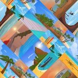 Il paesaggio tropicale della spiaggia della natura di vacanza di ora legale delle feste delle palme dell'isola di paradiso vector Fotografie Stock