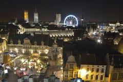 Il paesaggio urbano della città storica del traghetto di Roue e di Gand de Parigi spinge dentro Gand, Natale Immagini Stock Libere da Diritti