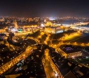 Il paesaggio urbano di notte di Lublino immagini stock