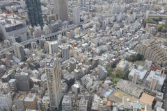 Il paesaggio urbano di Tokyo ha sparato dall'ultimo piano di alta costruzione Fotografie Stock Libere da Diritti