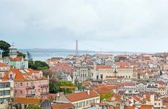 Il paesaggio urbano di vecchia Lisbona Fotografie Stock Libere da Diritti