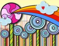 Il paese delle meraviglie del lollipop del Rainbow Immagine Stock