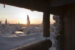 Il paese delle meraviglie di inverno della Lapponia Fotografie Stock