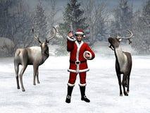 Il paese delle meraviglie di inverno, natale, il Babbo Natale Fotografia Stock