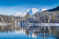 Il paese delle meraviglie idilliaco di inverno con il lago della montagna nelle alpi Fotografia Stock Libera da Diritti