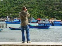 Il paesino di pescatori in Phan ha suonato, il Vietnam Fotografia Stock
