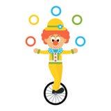 Il pagliaccio del fumetto con il cappello manipola sul vettore della bicicletta Fotografia Stock