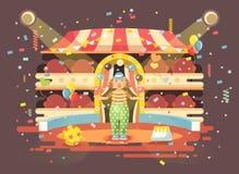 Il pagliaccio solo del personaggio dei cartoni animati dell'illustrazione di vettore manipola le palle, il circo vuoto interno de Fotografia Stock Libera da Diritti