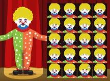 Il pagliaccio Yellow Curly Hair Dot Clothes Costume Cartoon Emotion affronta l'illustrazione di vettore Fotografia Stock Libera da Diritti