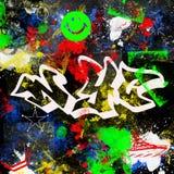 Il paitn multicolore di stile dei graffiti di New York City di progettazione di lerciume spazzola il fondo urbano dell'artista de fotografia stock libera da diritti