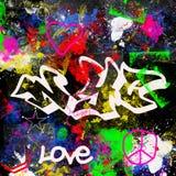 Il paitn multicolore di stile dei graffiti di New York City di progettazione di lerciume spazzola il fondo urbano dell'artista de fotografie stock
