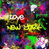 Il paitn multicolore di stile dei graffiti di New York City di progettazione di lerciume spazzola il fondo urbano dell'artista de immagine stock