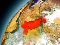 Il Pakistan dall'orbita di Earth di modello Immagine Stock