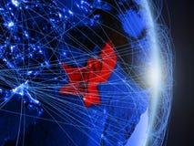 Il Pakistan su terra digitale blu blu fotografie stock libere da diritti