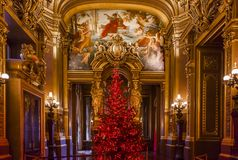 Il Palais Garnier, l'opera de Parigi, gli interni ed i dettagli Fotografie Stock