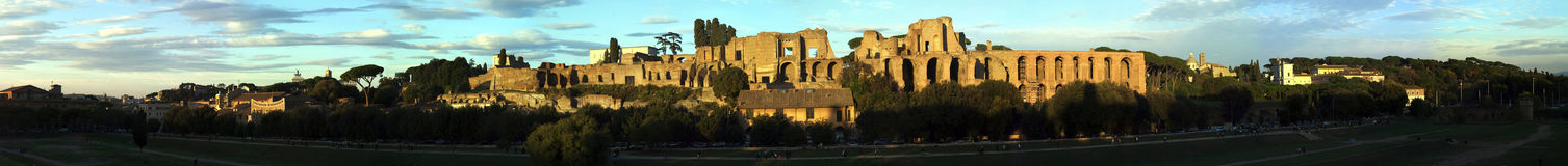 Il Palatino in sunset. A panorama composed from 26 images Stock Photos
