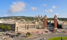 Il Palau Nacional in collina di Montjuic a Barcellona Fotografia Stock