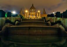 Il Palau Nacional entro Night (Barcellona) Immagini Stock Libere da Diritti