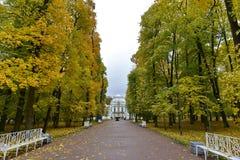 Il palazzo all'estremità della strada con il fogliame di caduta e gli alberi gialli immagine stock