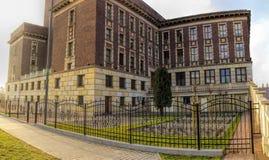 Il palazzo della cultura di Zaglebie Città di Dabrowa Gornicza, regione della Slesia, Polonia fotografia stock libera da diritti
