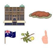 Il palazzo della regina Victoria, supporto Uluru, un fiore di una mimosa, una bandiera nazionale Icone stabilite della raccolta d Fotografia Stock Libera da Diritti
