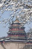 Il palazzo di incenso buddista nella stagione della neve Fotografia Stock
