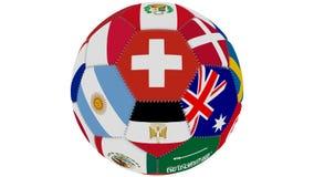 Il pallone da calcio a colori dei partecipanti della coppa del Mondo gira su un fondo trasparente verde, 3d rappresentazione, cic royalty illustrazione gratis