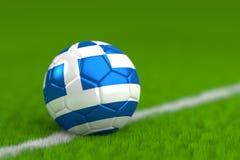 Il pallone da calcio con la bandiera greca 3D rende Fotografia Stock Libera da Diritti