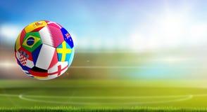Il pallone da calcio con le bandiere progetta il Qatar 3d-illustration illustrazione di stock