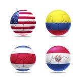 il pallone da calcio 3D con il gruppo A teams le bandiere Immagine Stock