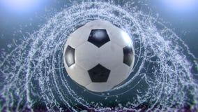 Il pallone da calcio vola emettendo il giro rapido delle gocce di acqua, animazione di 4k 3d illustrazione vettoriale