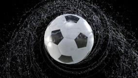Il pallone da calcio vola emettendo il giro rapido delle gocce di acqua, illustrazione 3d illustrazione vettoriale