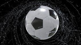 Il pallone da calcio vola emettendo il giro rapido delle gocce di acqua, illustrazione 3d royalty illustrazione gratis